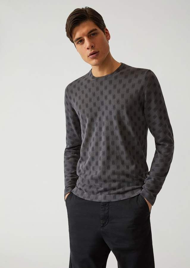 Emporio Armani Jumper In Fully Fashioned Printed Jersey