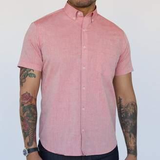 Blade + Blue Solid Red Melange Short Sleeve Shirt - Carson