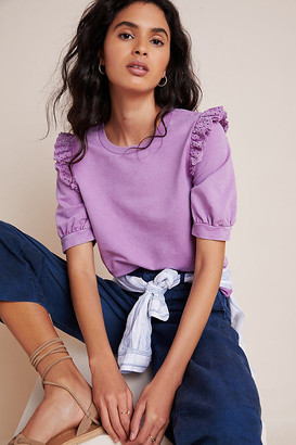 Eri + Ali Ruffled Eyelet Pullover By in Purple Size XS