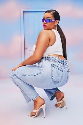 boohoo Plus Lace Up Rigid Slim Fit Jean