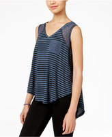 American Rag Striped Lace High-Low Tank Top, Only at Macy's