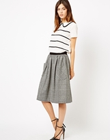 Asos Midi Skirt in Tweed Check with Pockets - Gray