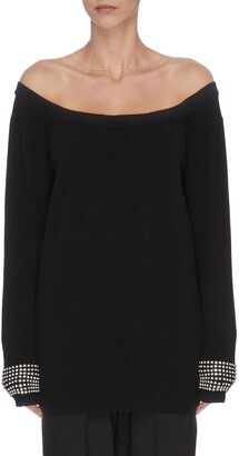 Alexander Wang x Lane Crawford 'Crystal Cuff' off-shoulder knit top