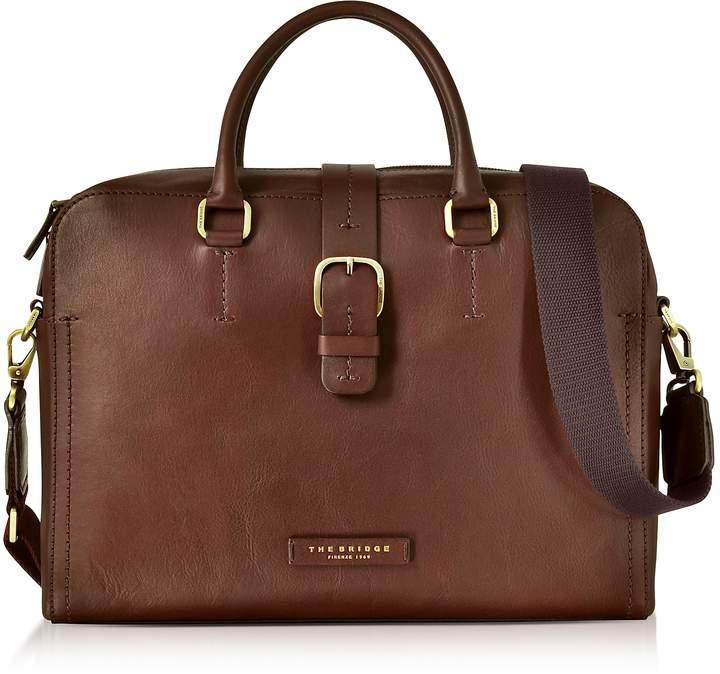 The Bridge Dark Brown Leather Double Handle Briefcase w/Detachable Shoulder Strap