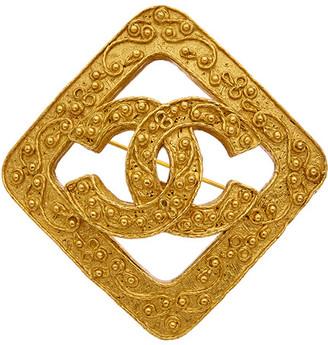 Chanel Gold-Tone Filigree Square Pin