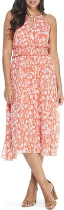 London Times Keyhole Floral Print Midi Dress