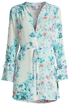 In Bloom Songbird Wrapper Floral Chiffon Robe