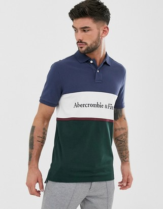 Abercrombie & Fitch chest panel logo pique polo in navy/green