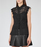 Reiss Nikki Sheer Lace Top