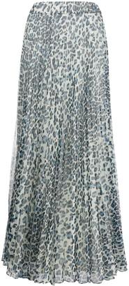 P.A.R.O.S.H. Leopard-Print Pleated Skirt