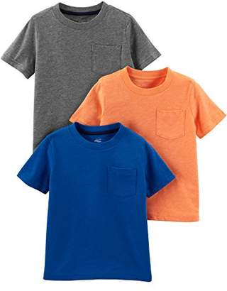 Carter's Simple Joys by Boys' Toddler 3-Pack Solid Pocket Short-Sleeve Tee Shirts
