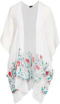 Lvs Collections LVS Collections Women's Kimono Cardigans WHITE - White Floral-Embroidered Cape-Sleeve Kimono - Women