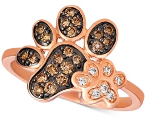 LeVian Le Vian Nude & Chocolate Diamond Paw Prints Ring (3/8 ct. t.w.) in 14k Rose Gold