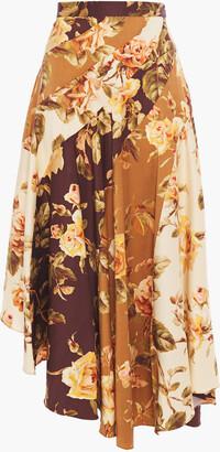 Zimmermann Resistance Spliced Asymmetric Floral-print Stretch-silk Twill Midi Skirt