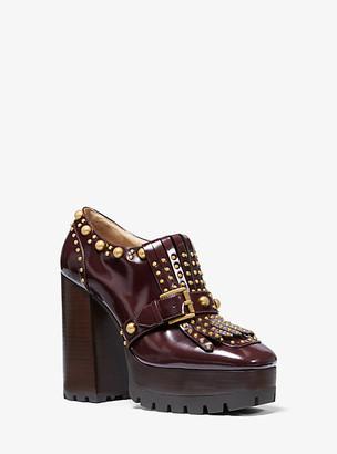 Michael Kors Alberta Studded Leather Kiltie Platform Loafer