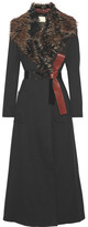 By Malene Birger Cubic Faux Fur-trimmed Twill Coat - Black
