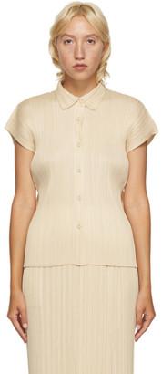 Pleats Please Issey Miyake Beige Pleated Short Sleeve Shirt