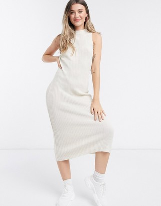 ASOS DESIGN knitted dress with open back in oatmeal