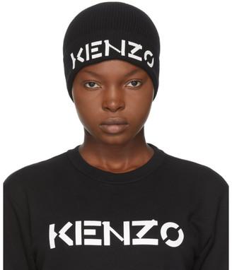 Kenzo Black Wool Painted Logo Beanie