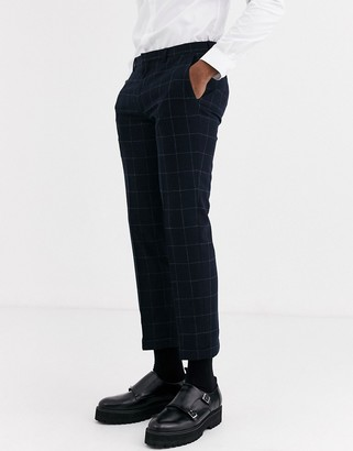 Shelby & Sons slim suit trouser with turn up leg in black windowpane check