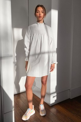 Nasty Gal Womens Shirred It Before High Neck Mini Dress - White - 4