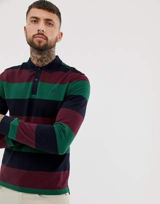 Fred Perry enlarged stripe logo sleeve pique polo in navy