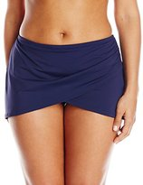 Anne Cole Women's Plus-Size Solid Sarong Swim Skirt