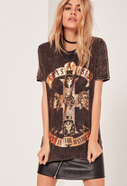 Missguided Guns and Roses Foiled T Shirt Grey