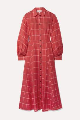 Mara Hoffman Liliana Checked Linen And Tencel-blend Midi Dress - Red