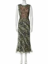 Thumbnail for your product : Carmen Marc Valvo Animal Print Long Dress Green