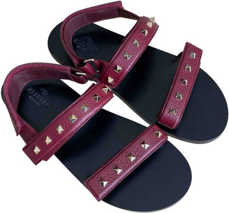 Valentino Burgundy Leather Sandals