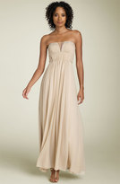Strapless Split Neck Silk Chiffon Gown