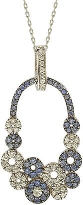 Suzy Levian Sterling Silver Multi-Circle Blue Sapphire, Created White Sapphire, & Brown Diamond Pendant Necklace - 0.02 ctw