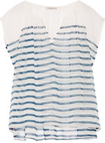 Mes Demoiselles Mathilde Striped Cotton-gauze Top - Storm blue