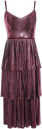 Marchesa Notte Tiered Metallic Plisse-jersey Midi Dress