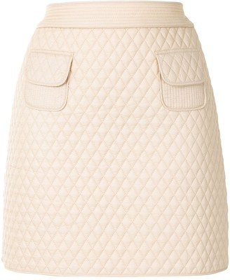 Paule Ka Diamond-Quilted Mini Skirt