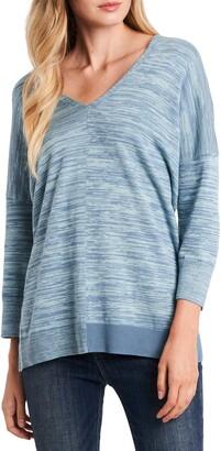 Vince Camuto Space Dye Asymmetrical Hem Cotton Blend Sweater