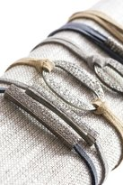 Lera Jewels Diamond Bar On Grey Suede Bracelet