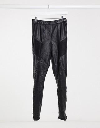 Free People leather look skinny jeans in black