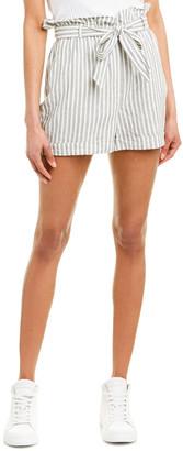 Frame Stripe Paperbag Linen-Blend Short