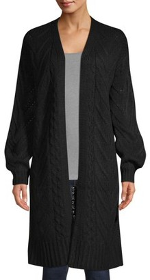 Time and Tru Drop Shoulder Open Front Cardigan with Balloon Sleeve Women's