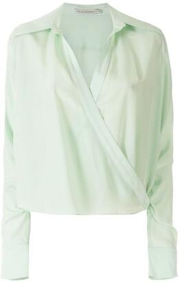 Martha Medeiros Silk Satin Wrap Shirt