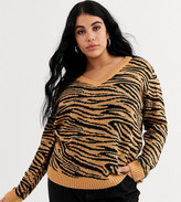 Brave Soul Plus zebra v neck sweater