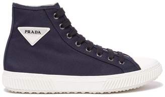Prada Stratus Cotton Canvas High Top Trainers - Mens - Navy