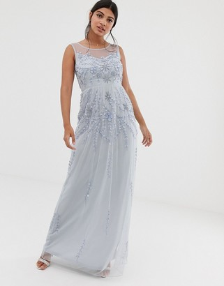 Amelia Rose embellished sleeveless maxi dress in soft blue
