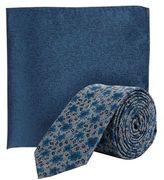 Burton Mens Teal Floral Print Tie And Pocket Square Set