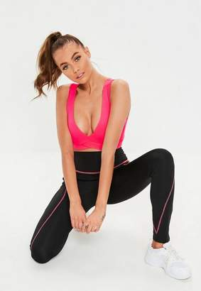 Missguided Active Black Pink Contrast Stitch Leggings
