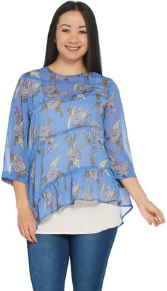 Logo by Lori Goldstein Printed Sheer Woven Blouse