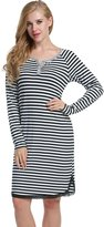 Avidlove Womens Stripes Loose Dresses Cotton Sleepshirt Casual nightgown