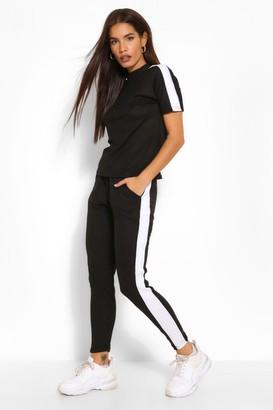 boohoo Side Stripe Bandage Boxy T-Shirt & Short Set